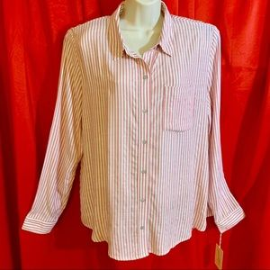 UNIVERSAL THREAD  L/S Pink White Stripe Blouse NWT